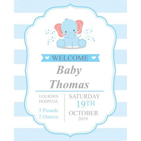 Baby boy birth record print template